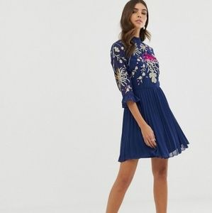 ASOS Navy Blue Embroidered Mini Dress